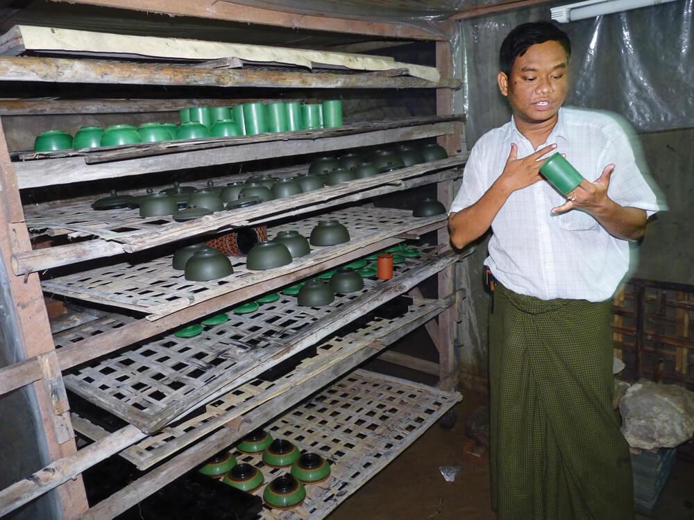 Bagan lacquerware drying