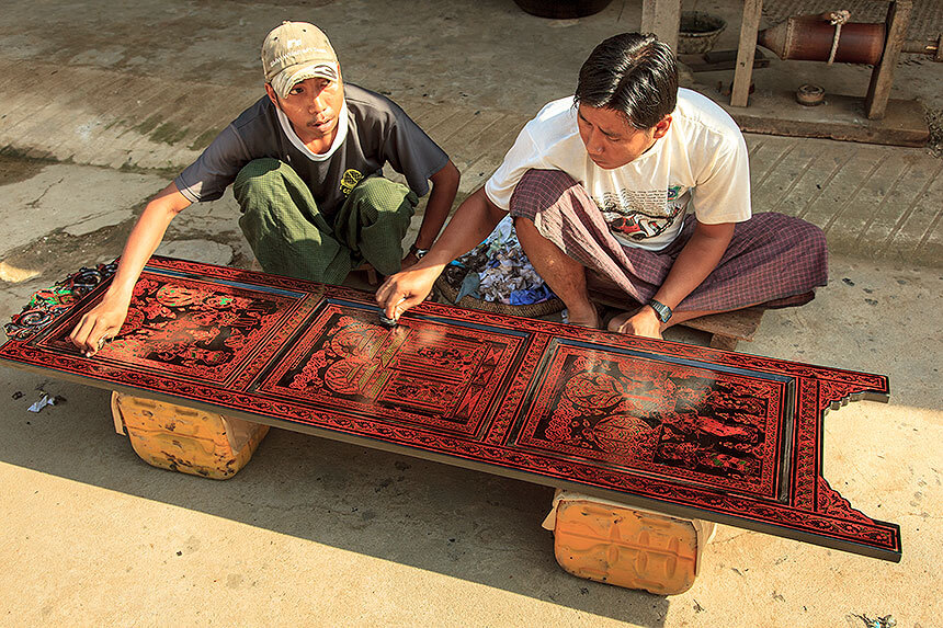 Bagan lacquerware polishing