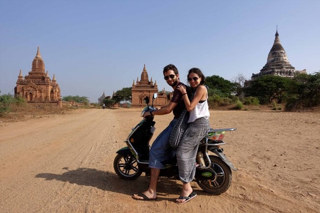 E biking in Bagan takes less time and effort
