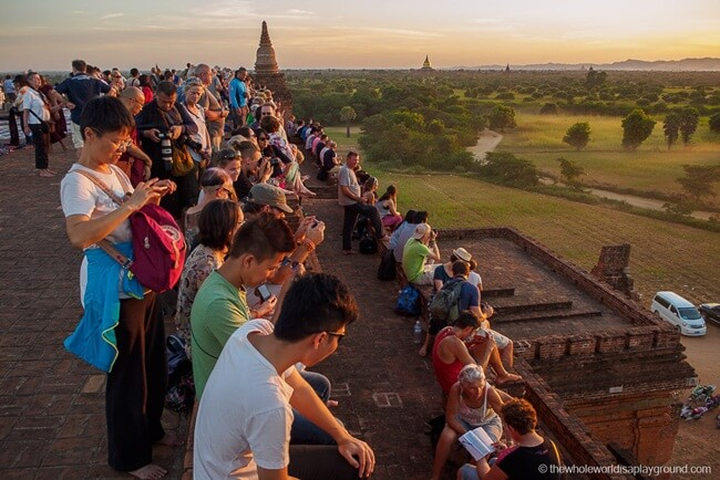 The crowd in one of the famous sunrise spots in Bagan
